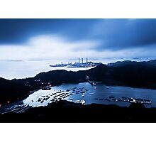 Sunset at power plant in Hong Kong Photographic Print