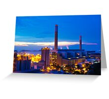 Power plant in Hong Kong at sunset Greeting Card
