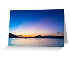 Sunset with cable car background Greeting Card