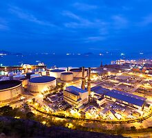 Oil tanks at night in Hong Kong by kawing921