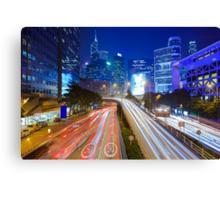 Busy traffic in Hong Kong at night Canvas Print