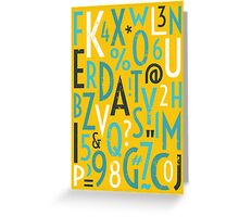 Retro Letters and Numbers Greeting Card