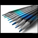 Caran D'Ache Colored Pencils In Different Shades Of Blue And Green by © Sophie Smith