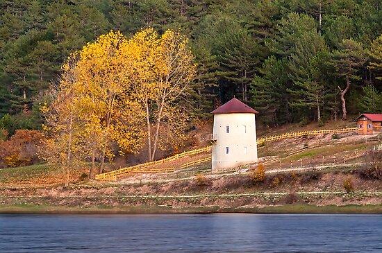 Windmill At Autumn At Cubuk Lake, Turkey by Kuzeytac
