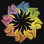 rainbow circle of dragons by Hannafate