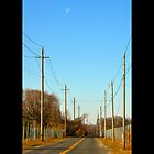 Half Moon Above Reese Avenue In The Morning  - Riverhead, New York  by © Sophie W. Smith