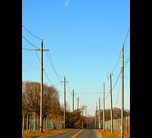 Half Moon Above Reese Avenue In The Morning  - Riverhead, New York  by © Sophie Smith