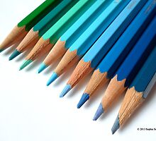 Caran D'Ache Colored Pencils In Different Shades Of Blue And Green by © Sophie W. Smith