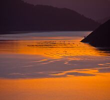 Sunset and reflection in Marlborough Sounds by trevallyphotos
