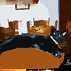 ACEO Abstract Black Cat 6 by jkgiarratano