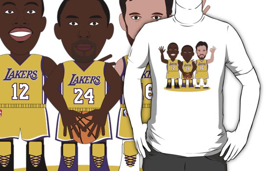 NBAToon of Kobw Bryant, Dwight Howard and Pau Gasol, players of Los Angeles Lakers by D4RK0