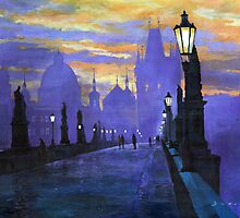Prague Charles Bridge Sunrise by Yuriy Shevchuk