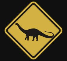 Beware of Apatosaurus Road Sign by eZonkey