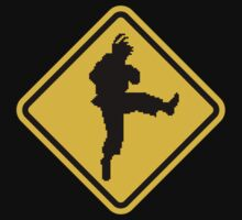 Beware of Ryu Hurricane Kick Road Sign - 8 bit Retro Style Kids Clothes