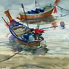 Two boats on the sea by Irina Fominykh