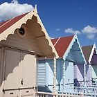 Colourful Beach Huts in Summer by Peter Barnes