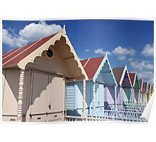 Colourful Beach Huts in Summer Poster