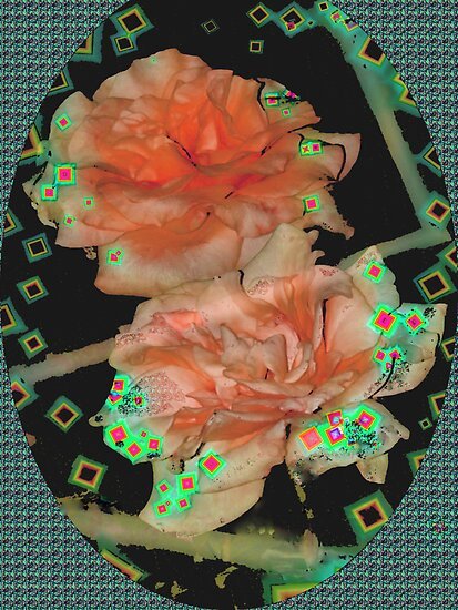 Diamond studded orange roses by ♥⊱ B. Randi Bailey