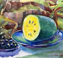 yellow watermelon and grapes by Irina Fominykh