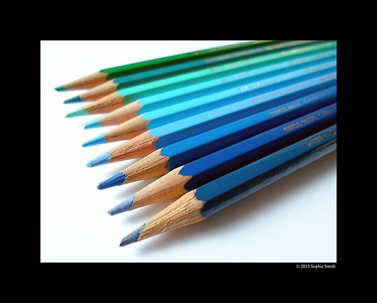 Caran D'Ache Colored Pencils In Different Shades Of Blue And Green - Swiss Made by © Sophie W. Smith