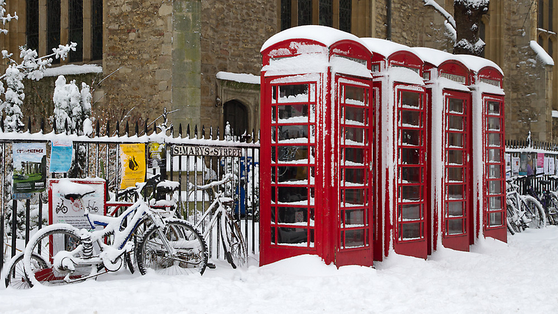 English telephone boxes in red and white by BeardyGit