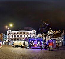 Doma square panorama at night, Riga, Latvia in Christmas by paulsrphoto