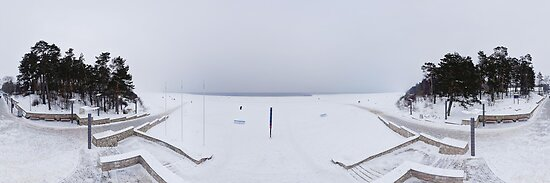 Winter on the beach panorma, Riga, Latvia by paulsrphoto