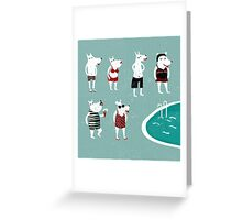 Retro swimsuits Greeting Card