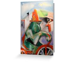 Green Monkey On Red Tricycle Greeting Card