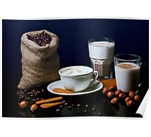 Latte, Capuccino, and Biscuits Poster