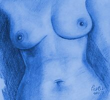Nude Female Torso - PPSFN-0002-in Blue by Pat - Pat Bullen-Whatling Gallery