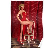 Marilyn Monroe Wearing a Red Dress Poster