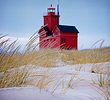 Lighthouse Big Red in Holland Michigan by Randall Nyhof
