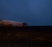 plane wreck by night by JorunnSjofn Gudlaugsdottir