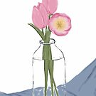 Still Life with Pink Tulips in a Milk Bottle by Sarah Countiss