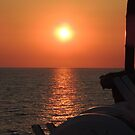 Sunset on the ship by parvmos