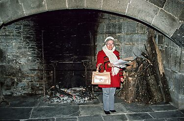 Marj in kitchen Hambaye Abbey 198402190048 by Fred Mitchell