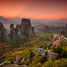 Sunset at Meteora by george papapostolou