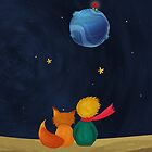 The Little Prince and Fox Looking at Starry Night & Planet B612  by scottorz