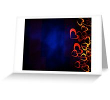 Orange Hearts with Blue Background Greeting Card