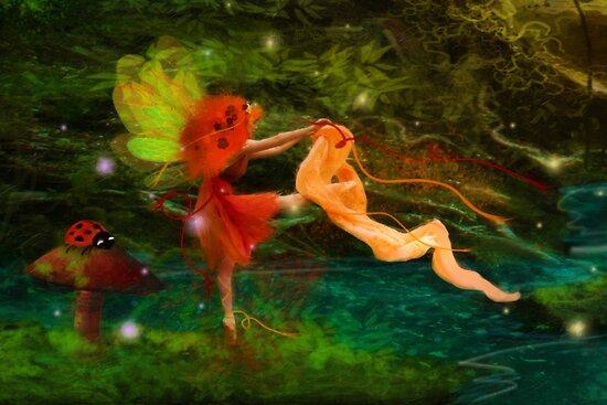 Dancing Auroras - Orange Fairy by Aimee Stewart