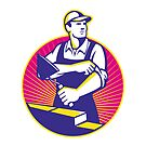 Mason Masonry Construction Worker Trowel by retrovectors