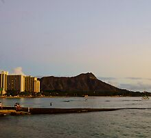 Sunset over Diamond Head mountain by raymona pooler