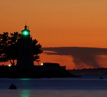 Goat Island lighthouse Newport, RI by Joshua McDonough Photography