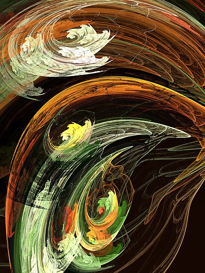 Fractal - Autumn Leaves Swirling Wind by Susan Savad