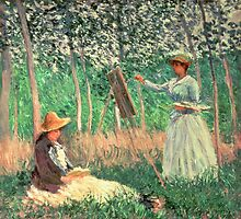 In the Woods at Giverny: Blanche Hoschede at her easel with Suzanne Hoschede reading, 1887  by Bridgeman Art Library