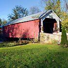Hassenplug Covered Bridge Under Blue October Skies by Gene Walls