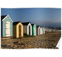 View of the beach huts at Southwold Poster
