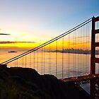 Sunrise and Golden Gate Bridge by Roi  Brooks