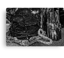Old Crab Pots in Black and White Canvas Print